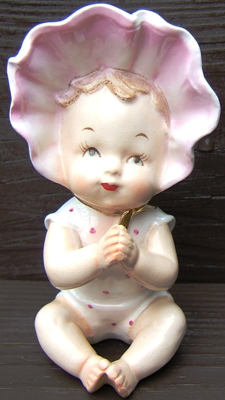 Primary image for Vintage PIANO BABY with BONNET FINE A QUALITY Ceramic Figurine GOLD Japan 1950s