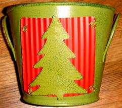 Green Painted Tin Pail w/ Christmas Tree Motif + Plastic Lin - $9.00