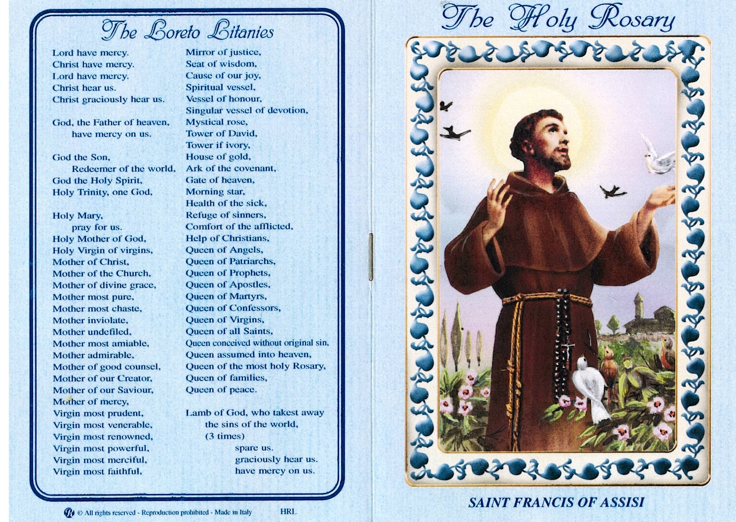 St. Francis - Brown Wood Rosary - Holy Card - Rosary Prayer Booklet