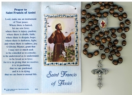 St. Francis - Brown Wood Rosary - Holy Card - Rosary Prayer Booklet image 5