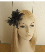 Black Organza Flower Rhinestone Combo Hair Accessory And Pin  - $10.00