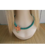 Turqouise Flat Wood Beads With Peach Stained Flower Vintage Necklace - $10.00