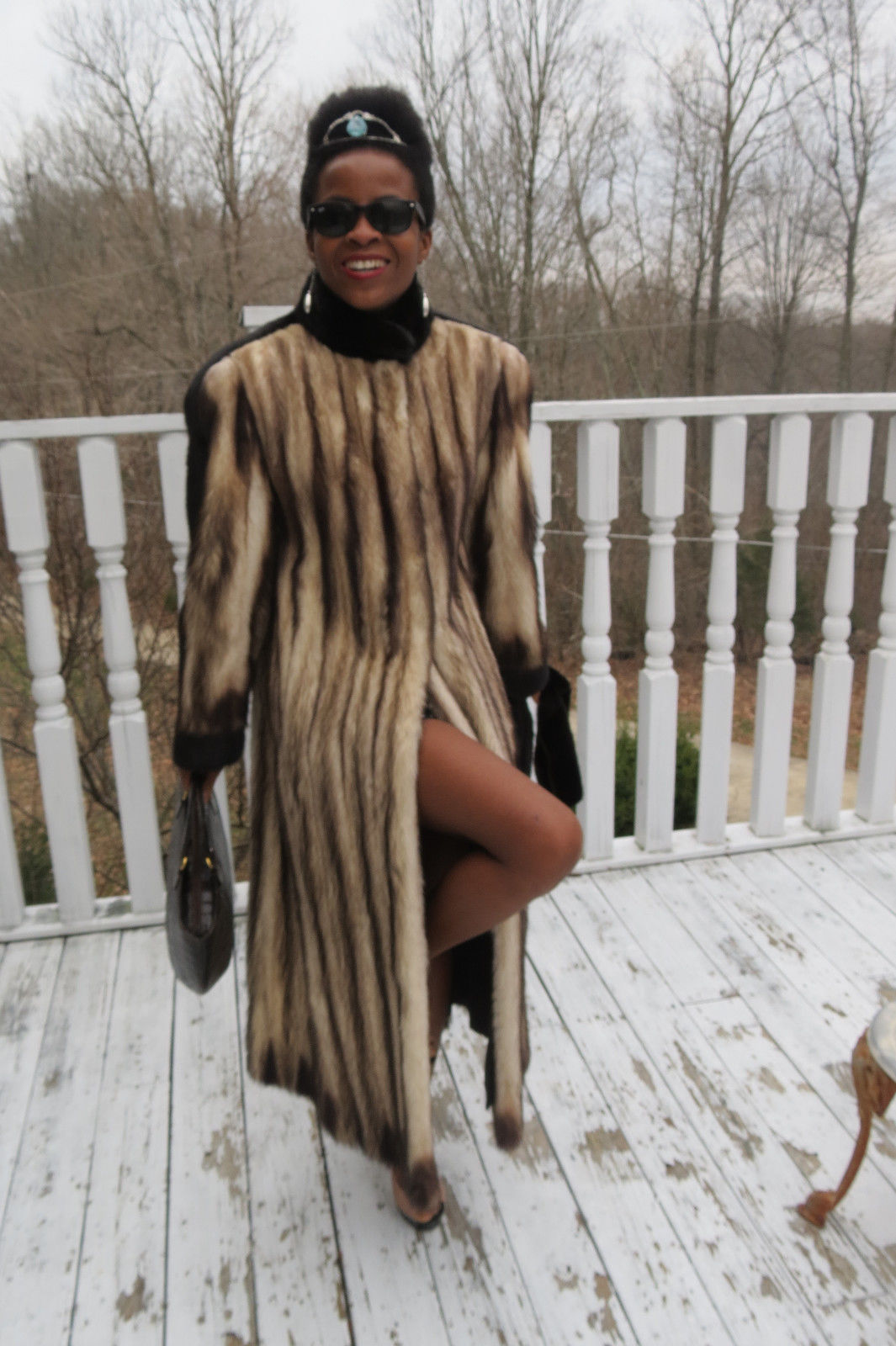 Designer Birger Christensen Full Length German sable Fitch & Mink Fur coat S 2-8