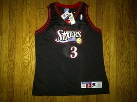 Authentic 1997-98 Champion Sixers 76ers Allen Iverson Black Road Away Je... - $349.99