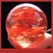 Rare Fire Red Quartz Crystal Ball Meditation Orb Sphere and Wood Stand - $89.95+