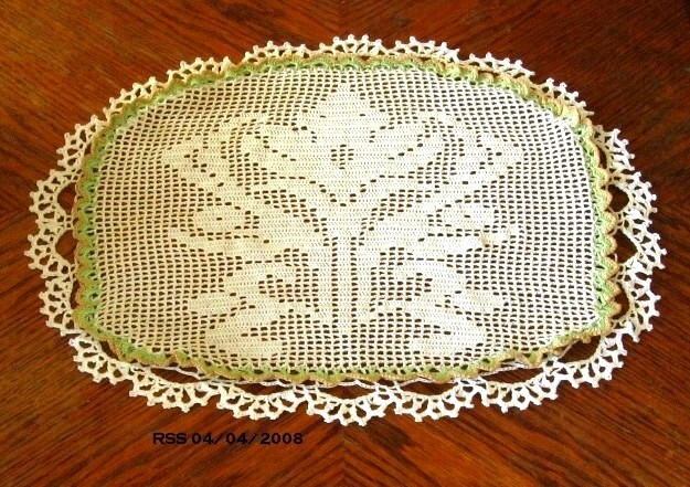 Ornate White Lily Bloom - Filet Crochet Image Art Decor by RSS Designs In Fiber