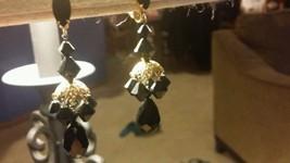 Vintage Black Rhinestone Dangle Earrings - $15.99