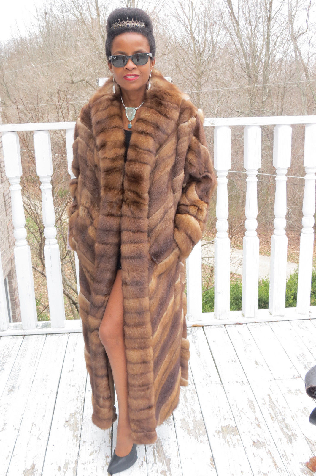New Full length Swing Designer Mink &Genuine Russian Sable fur Coat M-L 8-14/16