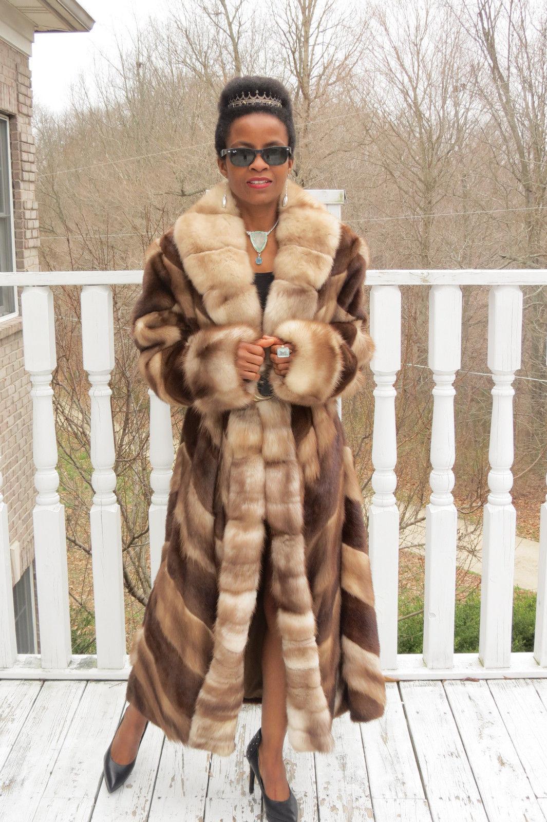 NEW designer full length female pelts Mink& Sable Stone marten fur Coat M-L 8-14