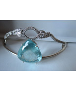 Designer Custom  57 carat Aquamarine about 1 carat diamond 14k white gol... - $26,999.99