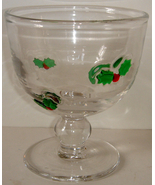 Heavy Glass Goblet w/ Holly Motif - $10.00