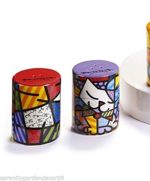 Romero Britto Ceramic Salt & Pepper Shakers - Cat & Vivid Design NEW