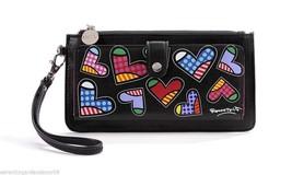 Romero Britto Black Clutch Wristlet Wallet #333341 Hearts NEW