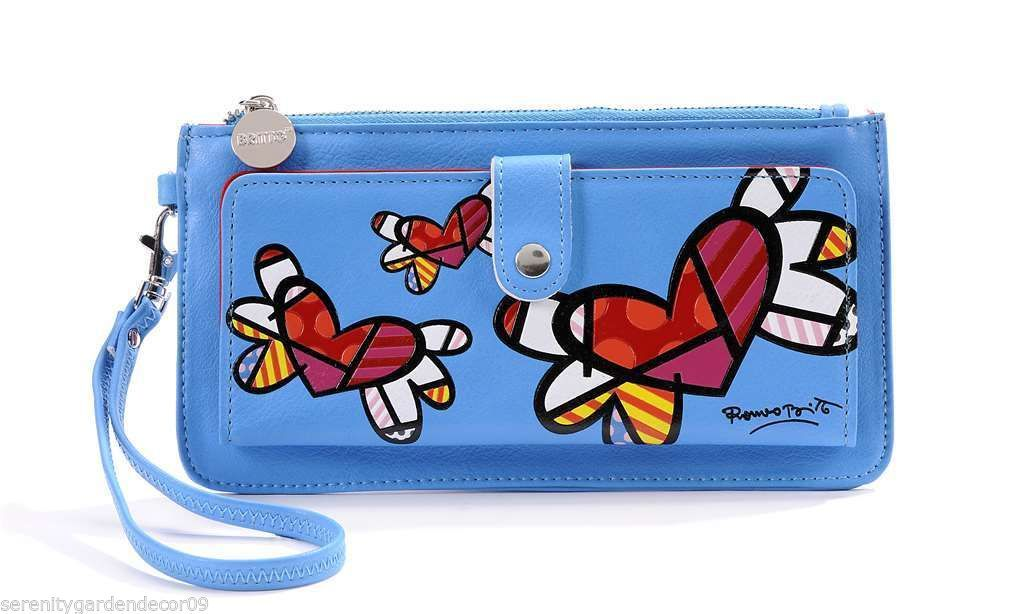 Romero Britto Blue Clutch Wristlet Wallet #333340 Flying Hearts NEW