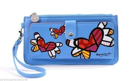 Romero Britto Blue Clutch Wristlet Wallet #333340 Flying Hearts Collectible