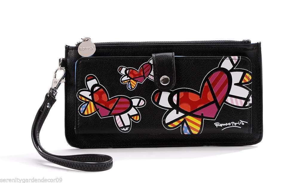 Romero Britto Black Clutch Wristlet Wallet #333342 Flying Hearts NEW