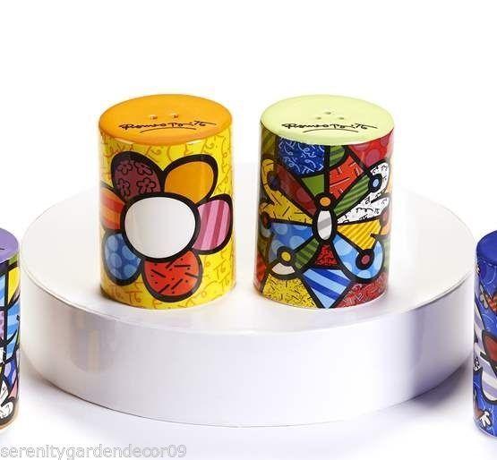 Romero Britto Ceramic Salt & Pepper Shakers - Flower & Butterfly NEW