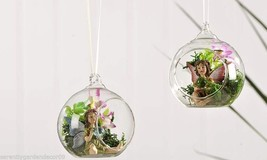 "Set of 2 - Fairy Sitting in a Clear Glass Ball Hanging Ornament 4.7"" D"