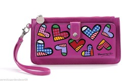 Romero Britto Pink Clutch Wristlet Wallet #333343 Hearts NEW