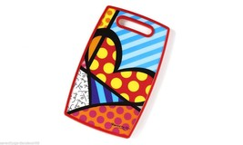 Romero Britto Cutting Board - Heart Design - Polypropylene Cut Out Handle NEW