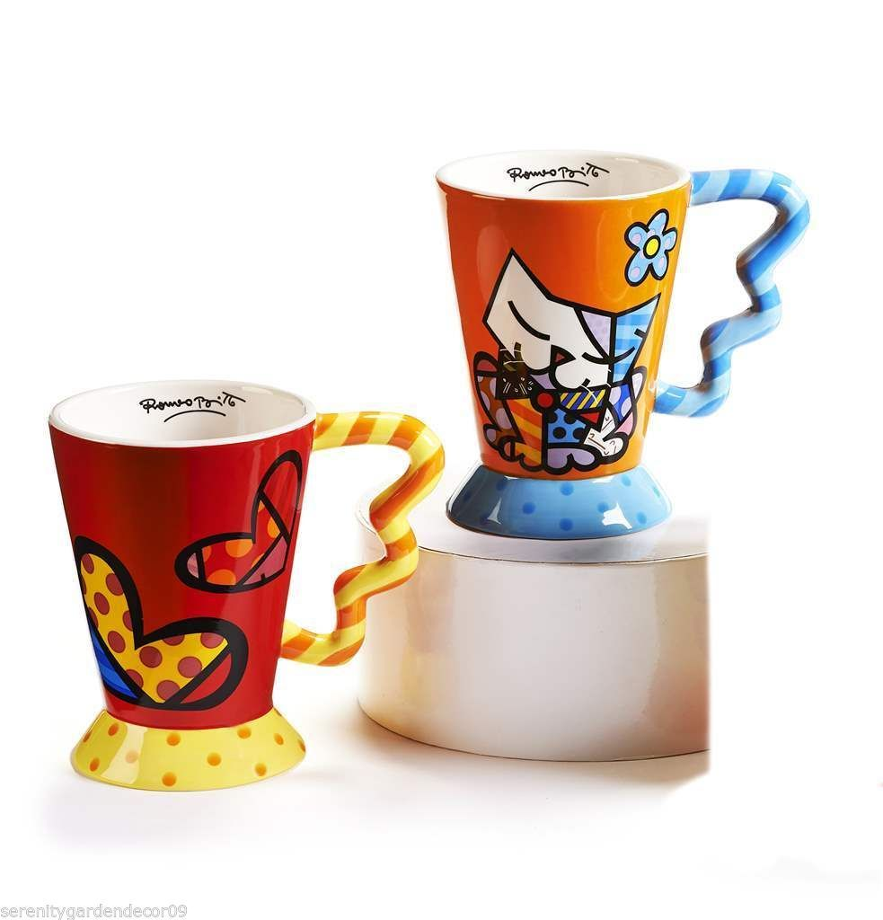 Primary image for Romero Britto Funnel Shaped Icon Mugs Cat & Hearts Set of 2 - 14oz  #3340202