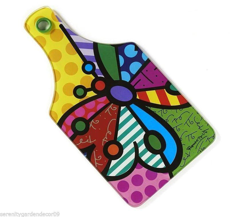 Romero Britto Tempered Glass Cutting Board - Butterfly Design