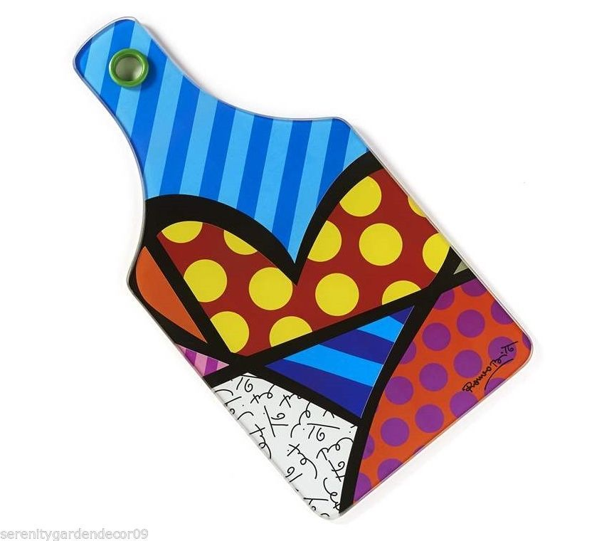 Romero Britto Tempered Glass Cutting Board - Heart Design