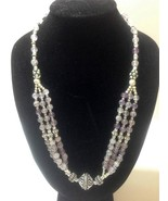 "AMETHYST SILVER 3-Strand Beaded Necklace 20"" Ar... - $14.69"