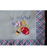 """Just Born Baby Blanket  Lil All Star Sports Blue Checkered Trim  39 """" x 28"""" - $29.35"""