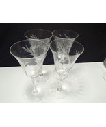 4 DEEP CUT LEAF PATTERN WINE STEMS~~Panel Sides~~~nice ones.....look - $12.99