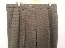 LL Bean 14P Pants Brown Wool Stretch Tweed Houndstooth Trousers Slacks L... - $28.40
