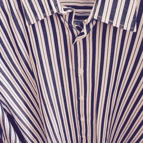 Mens Perry Ellis Straight Collar Striped Dress Shirt EUC~Large~Black,Blue,White~