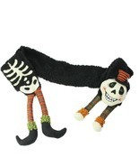 "Gallerie II 68"" Black Orange Extra Soft Eerie Skeleton Halloween Novelty... - £20.98 GBP"