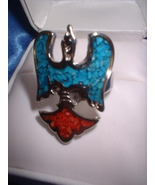 "Ladies Turquoise & Coral ""Peyote Bird"" Ring  NIB - $14.00"