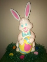 "NEW Vintage 27"" Grand Venture White Easter Bunny Lighted Blow Mold Decor... - $98.99"