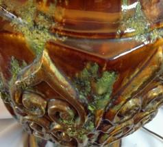 Mid century Mediterranean Fat Lava Lamps Scrolls Jumbo Brown Green Gold ... - $589.05