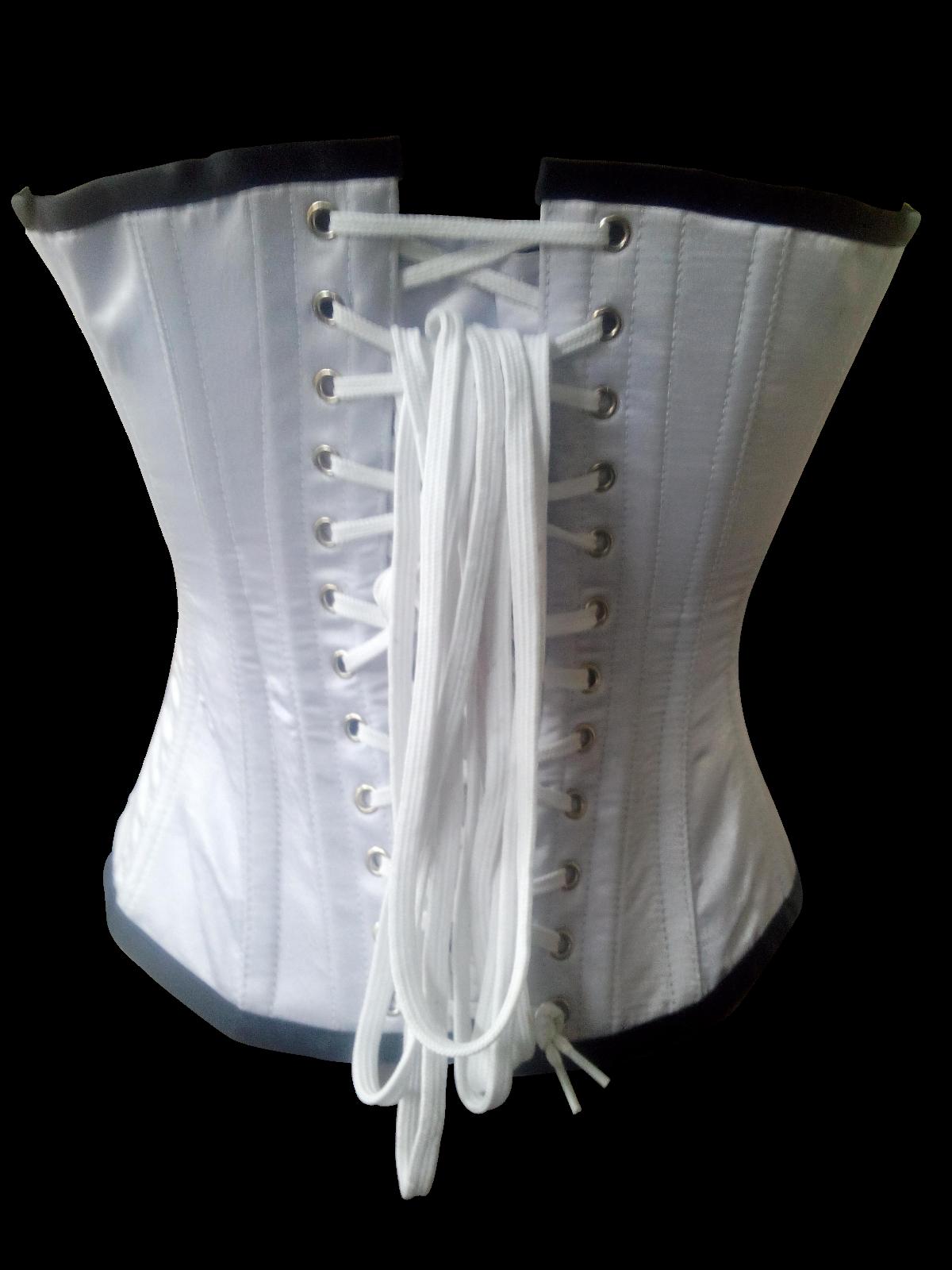 White Satin Black Sequins Burlesque Bustier Waist Training Overbust Corset Top