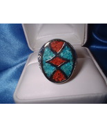 Turquoise Coral Inlay Large Oval Ring - $26.50