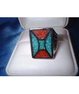 Turquoise Coral Inlay Large Ring - $26.50
