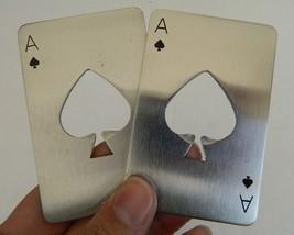 CASINO POKER ACE OF SPADES STAINLESS STEEL CARD SHAPED BOTTLE OPENER, LO... - $13.79