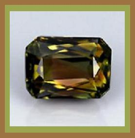 Tourmaline  green  gold  red  brown  emerald cut 3.12ct 10x8mm