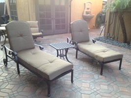 Nassau Outdoor Patio 2 Single Chaise Lounges And 1 End Table Cast Aluminum - $1,340.46+