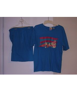 BEACH  * T-SHIRT and SHORTS COMBO *  SIZE: 14/16 - BLUEISH/GREEN - POLY/... - $6.99