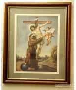 St. Francis Embracing the Crucified Christ – Murillo Print, Framed and Matted - $10.00