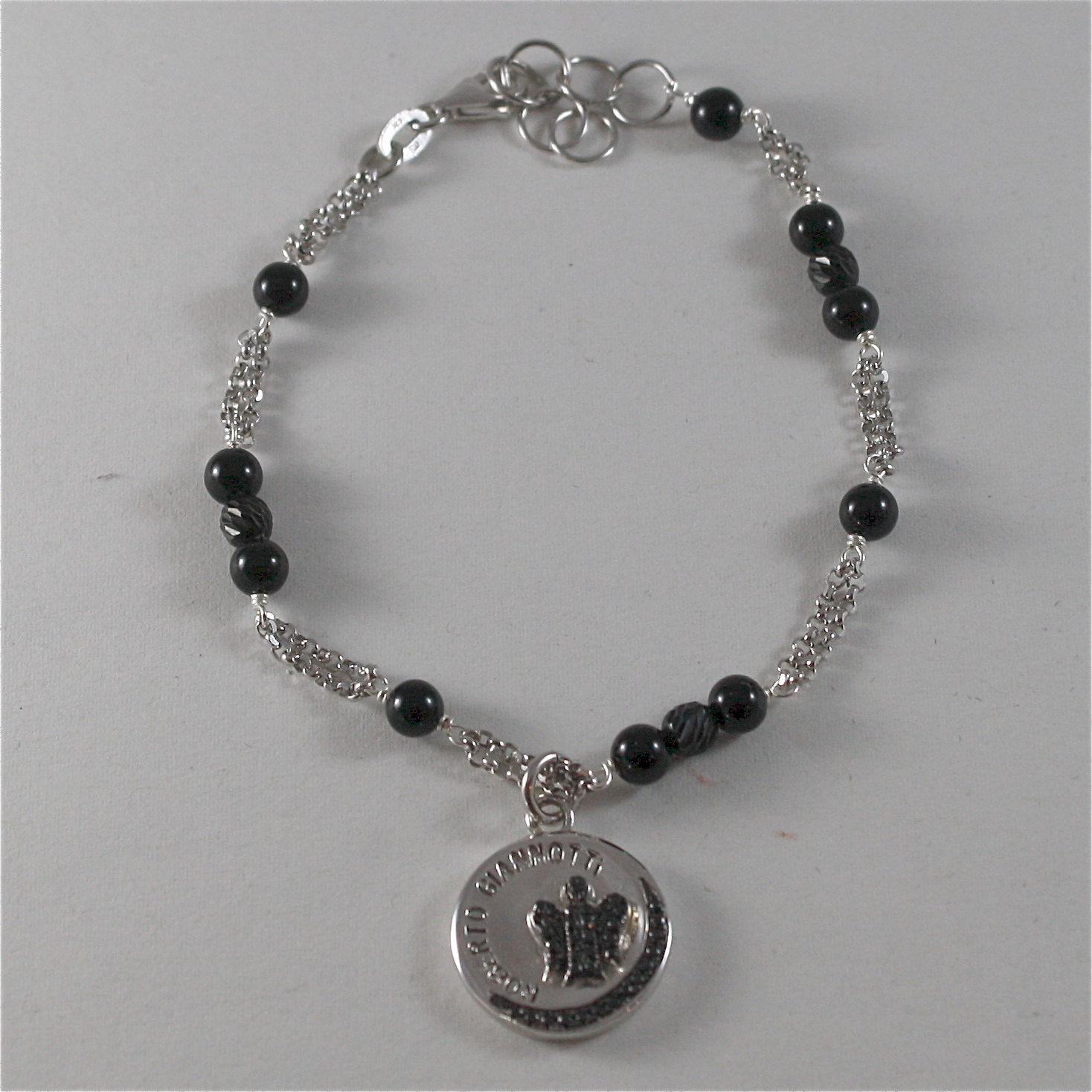 925 RODIUM SILVER BRACELET WITH BLACK ONYX AND ANGEL WITH CRYSTAL, MADE IN ITALY