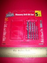 Home Gift Drill Bit Vermont American Masonry 5 Pc Carbide Tip Double Fluted Tool - $12.34