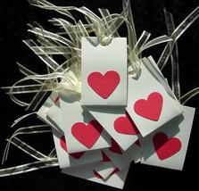 Small Handmade RED HEART Gift Tags  set of 18 ivory satin ribbon - $7.99