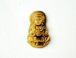 natural tiger eye stone Hand carved chinese guanyin buddha charm zen pendant - $9.89