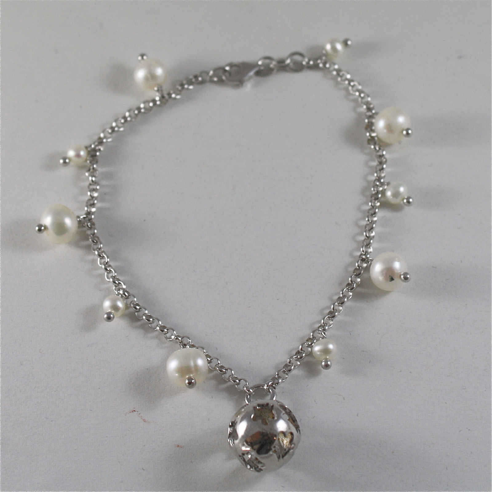 925 RODIUM SILVER BRACELET WITH WHITE FW PEARLS & BALL WITH ANGEL, MADE IN ITALY