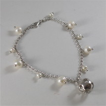 925 RODIUM SILVER BRACELET WITH WHITE FW PEARLS & BALL WITH ANGEL, MADE IN ITALY image 2